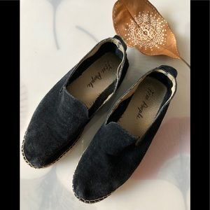 Free People Black Suede Leather Flats